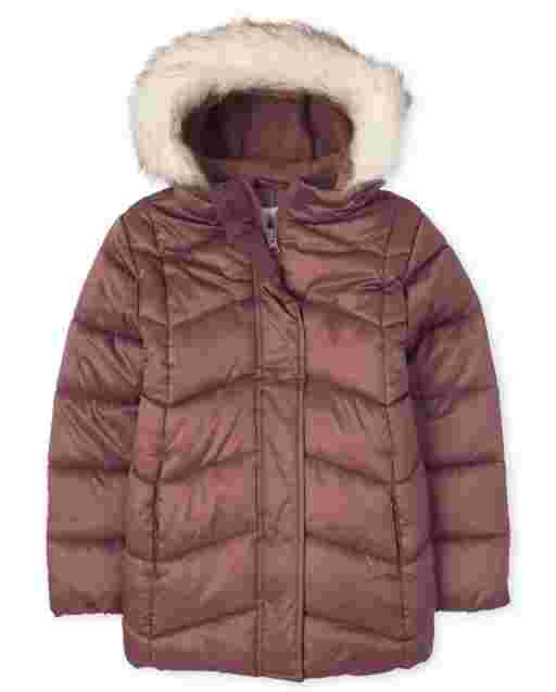 Girls Long Sleeve Faux Fur Hooded Long Puffer Jacket
