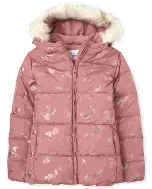 Girls Long Sleeve Foil Unicorn Print Faux Fur Hooded Puffer Jacket