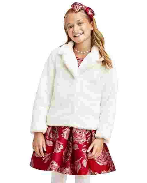 Abrigo de piel sintética de manga larga para niñas