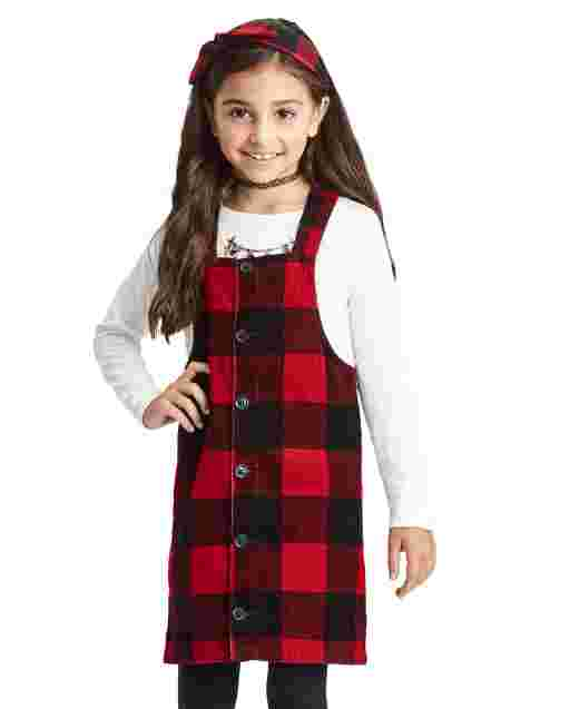 Girls Sleeveless Buffalo Plaid Corduroy Skirtall
