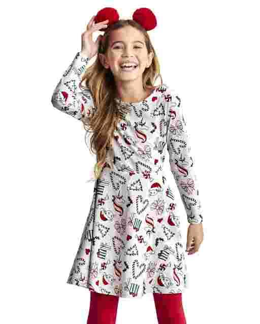 Girls Long Sleeve Print Skater Dress