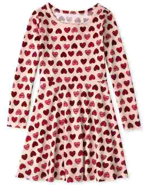 Girls Long Sleeve Print Knit Skater Dress