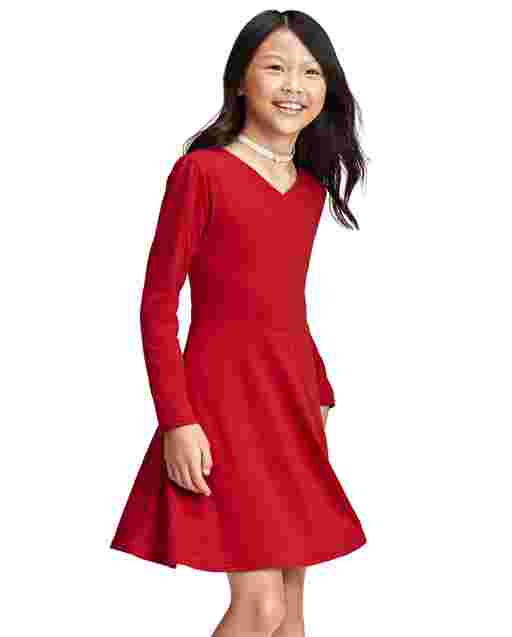 Girls Long Sleeve Knit Faux Wrap Dress