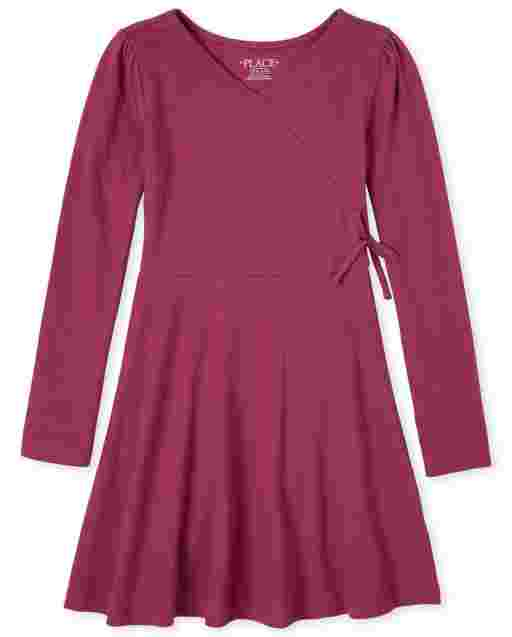 Girls Long Sleeve Knit Faux Wrap Dress