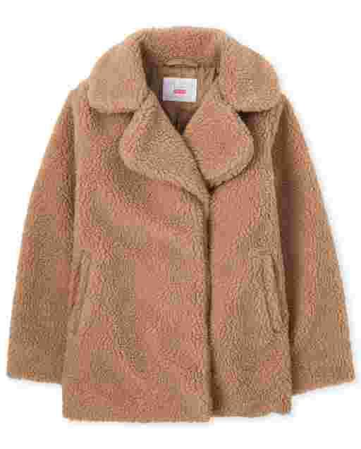 Abrigo largo de peluche para niñas