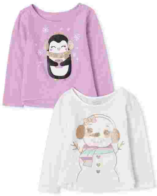 Toddler Girls Long Sleeve Glitter Graphic Top 2-Pack