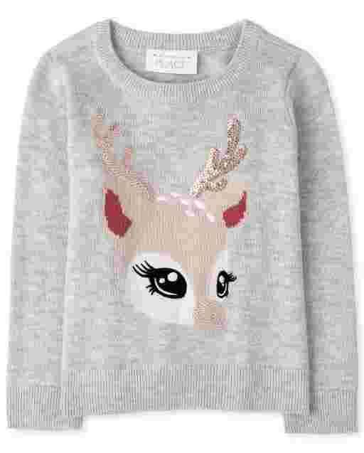 Baby And Toddler Girls Long Sleeve Animal Graphic Sweater