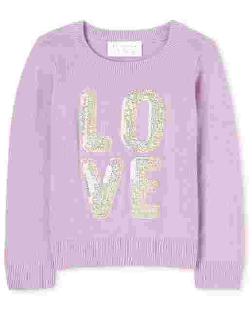 Baby And Toddler Girls Long Sleeve Glitter Graphic Sweater
