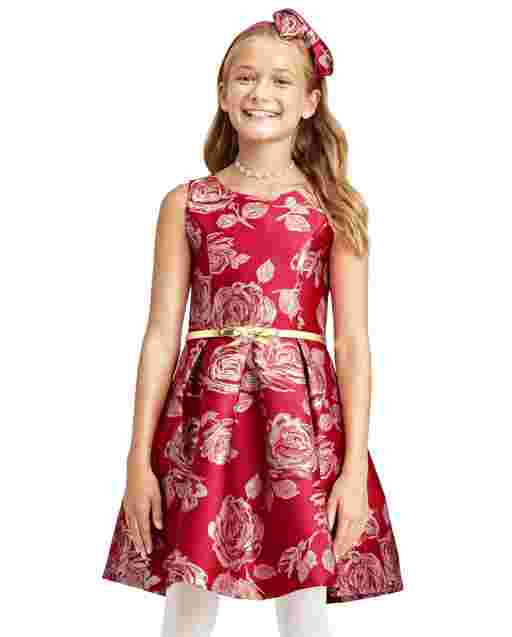 Girls Mommy And Me Sleeveless Metallic Rose Print Belted Woven Jacquard Matching Dress