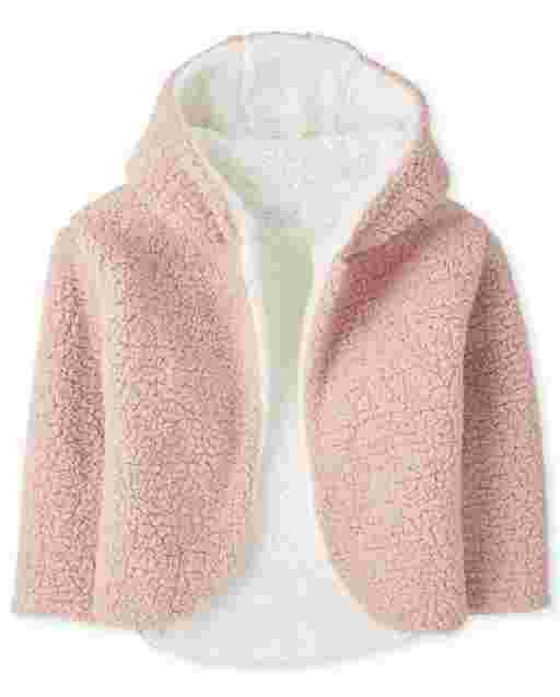 Girls Long Sleeve Reversible Sherpa Hooded Cardigan