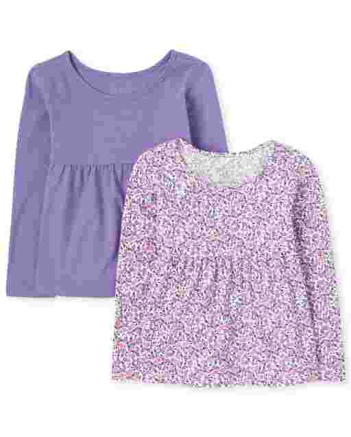Toddler Girls Long Sleeve Solid And Print Tunic Top 2-Pack