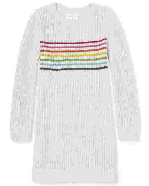 Girls Long Sleeve Rainbow Striped Sweater Dress