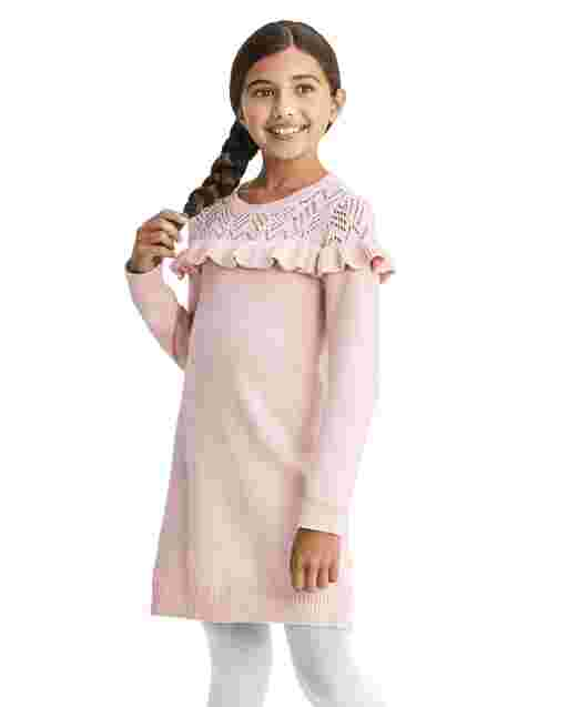 Girls Long Sleeve Ruffle Sweater Dress