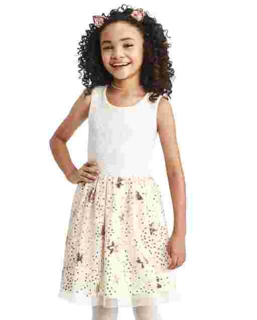 Girls Sleeveless Sequin Star Knit To Woven Dress