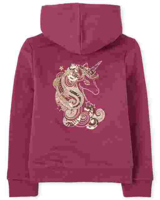 Girls Long Sleeve Embellished Graphic Sherpa Lined Fleece Zip Up Hoodie