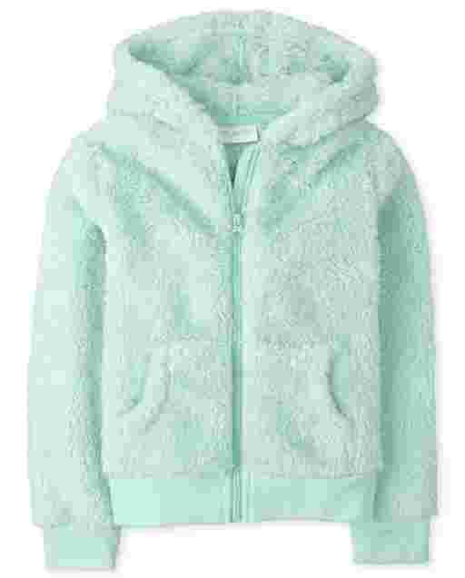 Girls Long Sleeve Sparkle Faux Fur Zip Up Hoodie
