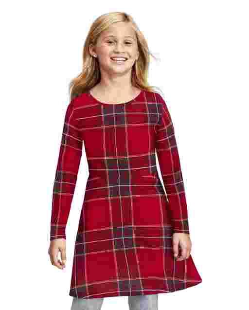 Girls Long Sleeve Christmas Plaid Knit Skater Dress
