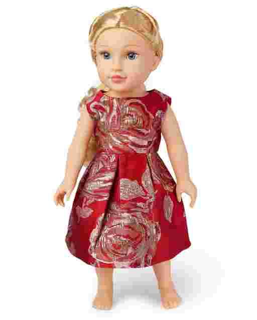 Vestido a juego de jacquard rosa metálico de Doll Mommy And Me