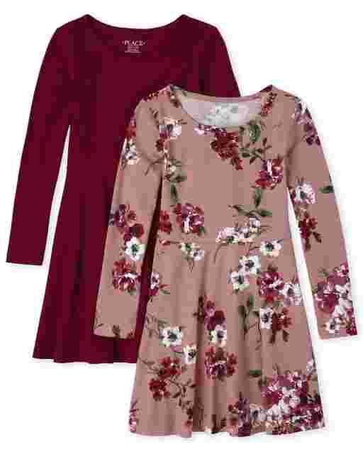 Girls Long Sleeve Print Skater Dress 2-Pack