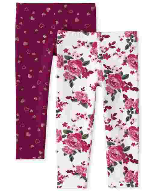 Toddler Girls Floral And Glitter Dot Print Knit Leggings 2-Pack