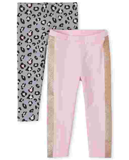 Toddler Girls Leopard Print And Side Stripe Knit Leggings 2-Pack