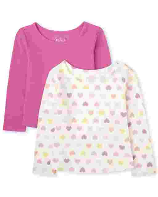 Toddler Girls Long Sleeve Solid And Rainbow Star Print Thermal Top 2-Pack