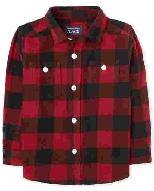 Toddler Boys Long Sleeve Buffalo Plaid Flannel Button Down Shirt