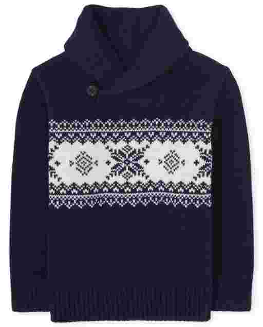 Toddler Boys Long Sleeve Fairisle Shawl Neck Sweater