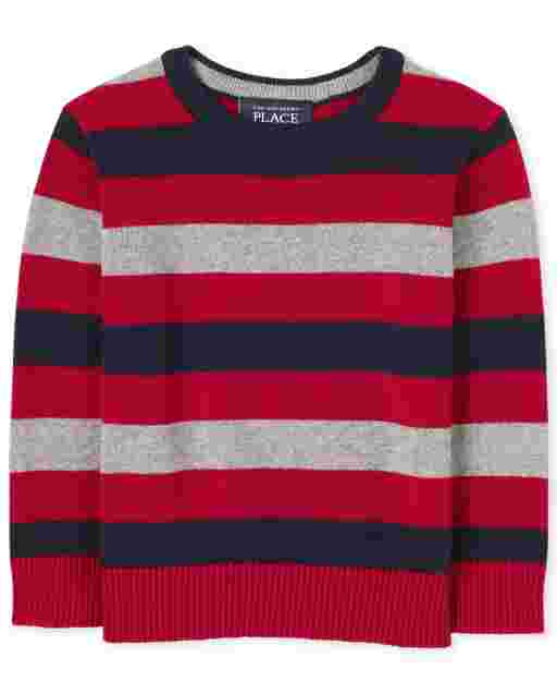 Toddler Boys Long Sleeve Striped Sweater
