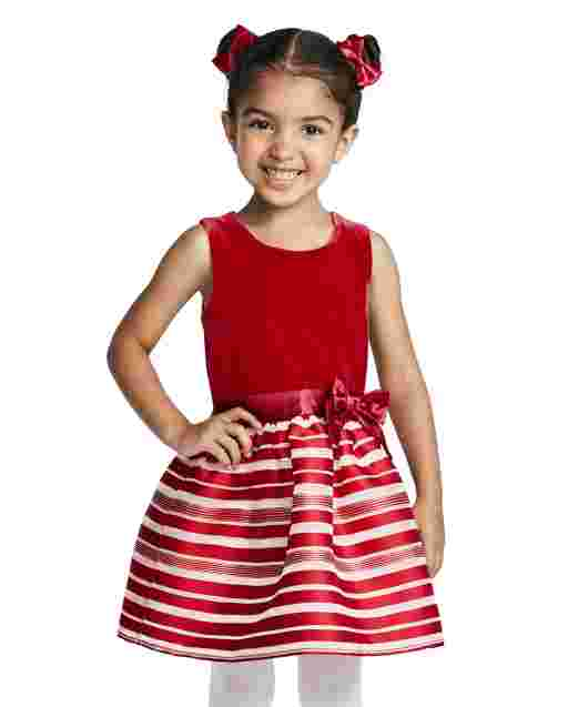 Toddler Girls Sleeveless Velour Candy Cane Striped Knit To Woven Dress