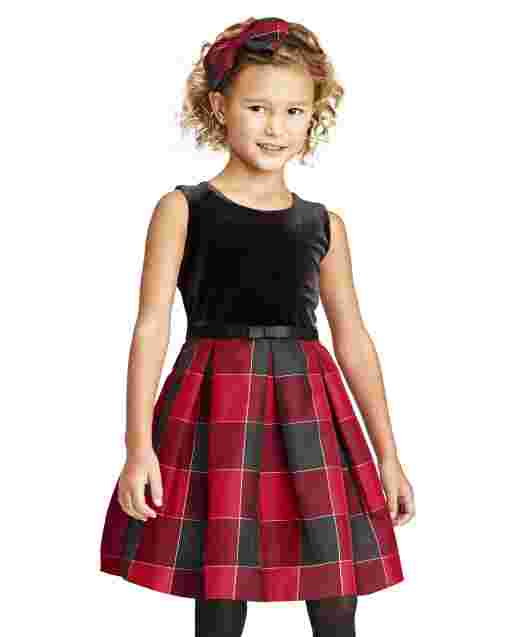 Toddler Girls Mommy And Me Sleeveless Velour And Buffalo Plaid Pleated Matching Knit To Woven Dress