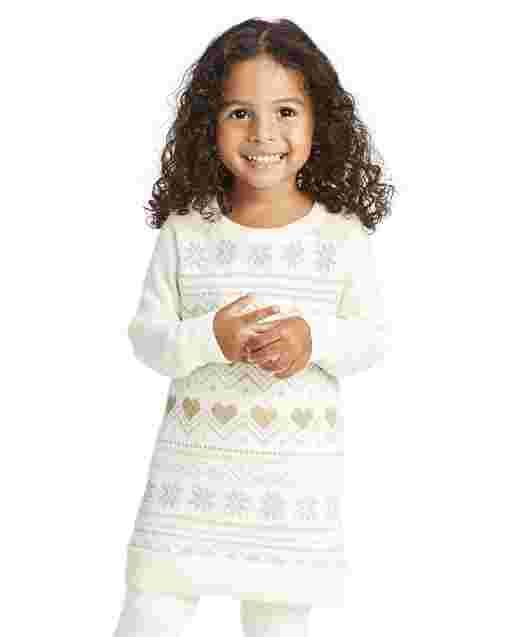 Baby And Toddler Girls Long Sleeve Metallic Fairisle Sweater Dress