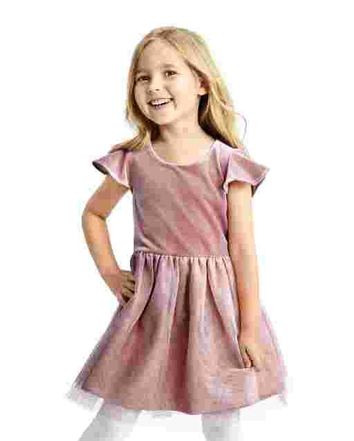 Vestido de tutú tejido a tejido con brillo de terciopelo y manga corta con volantes para niñas pequeñas