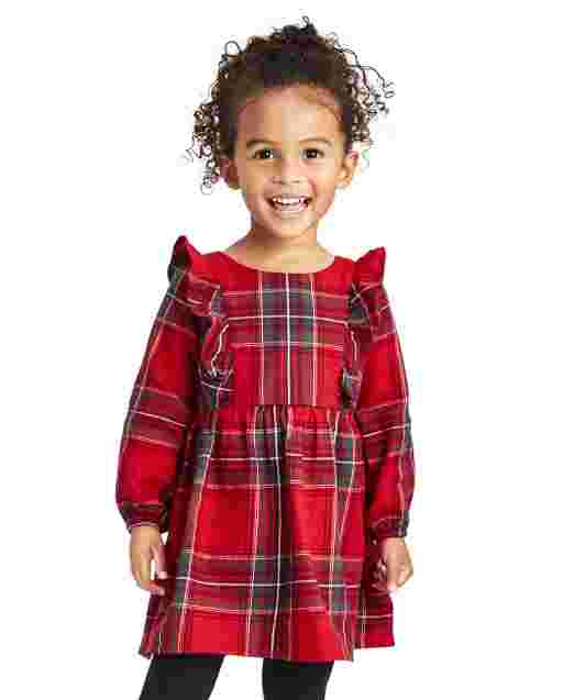 Baby And Toddler Girls Matching Family Long Sleeve Plaid Twill Peasant Dress