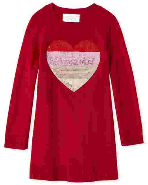 Baby And Toddler Girls Valentine's Day Long Sleeve Heart Sweater Dress