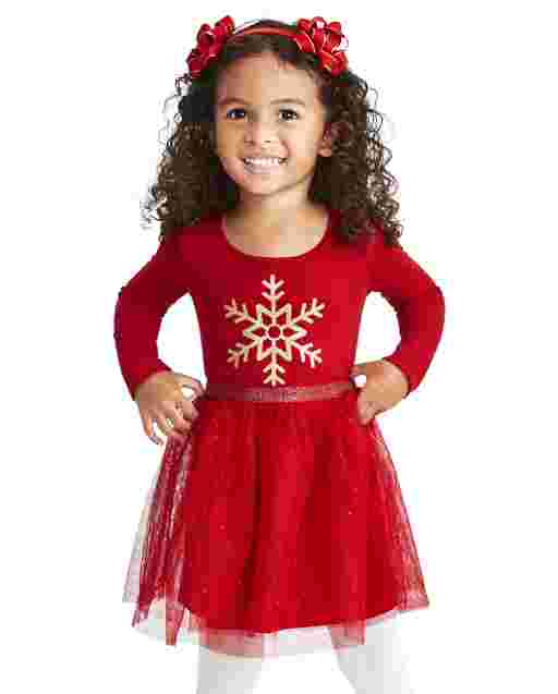 Toddler Girls Long Sleeve Glitter Snowflake Knit To Woven Tutu Dress