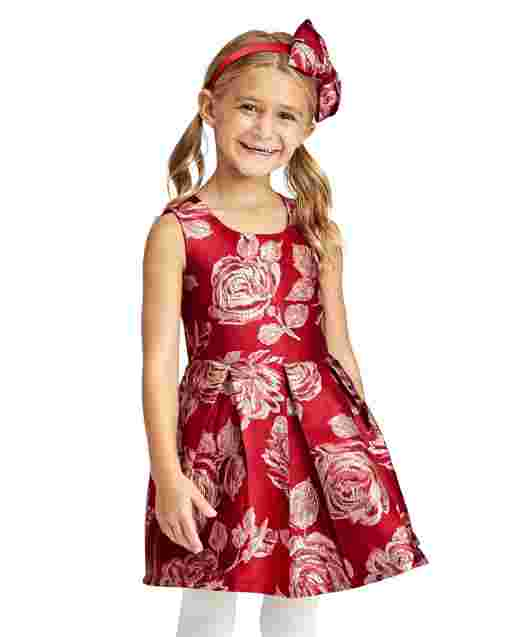 Toddler Girls Mommy And Me Sleeveless Metallic Rose Print Woven Jacquard Pleated Matching Dress