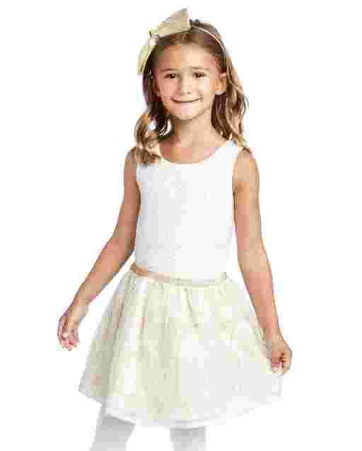 Vestido de tutú tejido con purpurina sin mangas para niñas pequeñas
