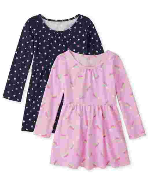 Toddler Girls Long Sleeve Rainbow Knit Skater Dress 2-Pack