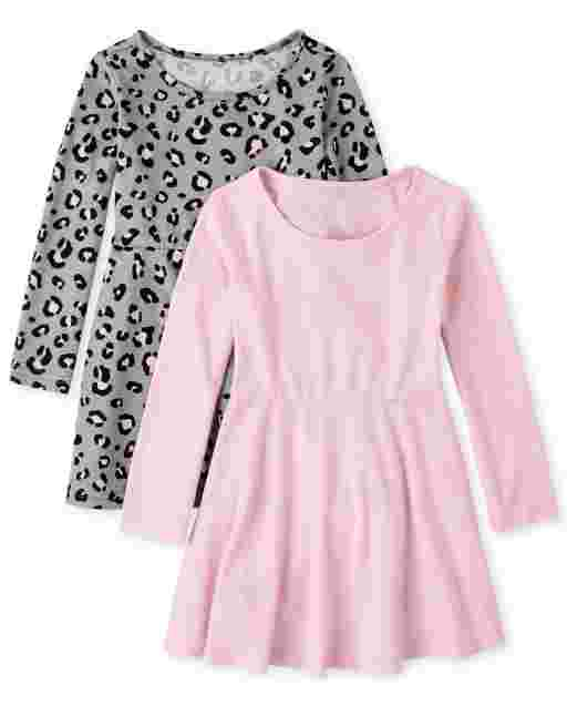 Toddler Girls Long Sleeve Leopard Print And Solid Knit Skater Dress 2-Pack