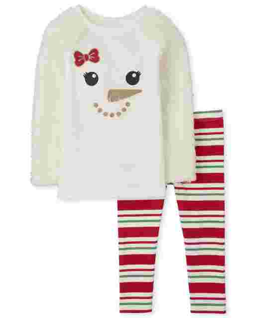 Toddler Girls Long Sleeve Snowman Sweater And Striped Knit Leggings Outfit Set