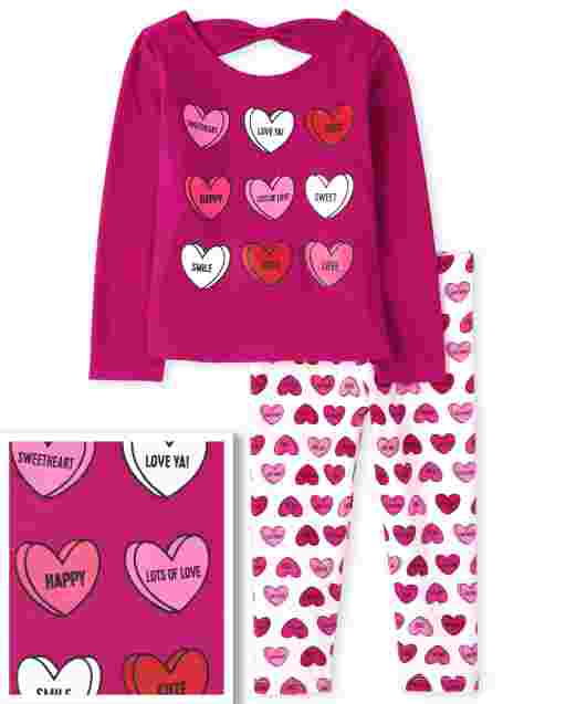 Toddler Girls Valentine's Day Long Sleeve Heart Bow Back Cut Out Top And Heart Print Knit Leggings Outfit Set
