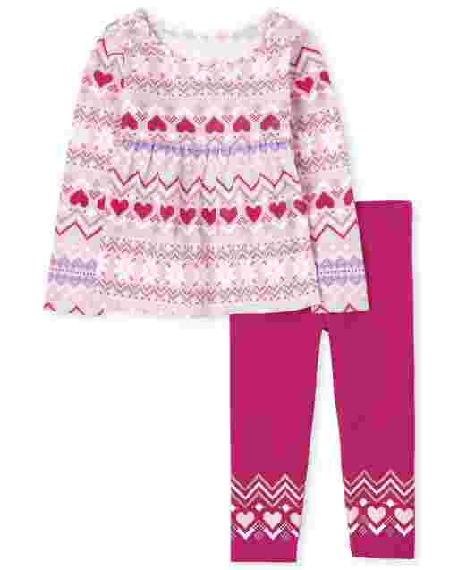 Toddler Girls Long Sleeve Fairisle Tunic Top And Knit Leggings Outfit Set