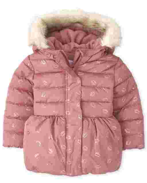 Toddler Girls Long Sleeve Foil Crown Print Faux Fur Hooded Bubble Puffer Jacket