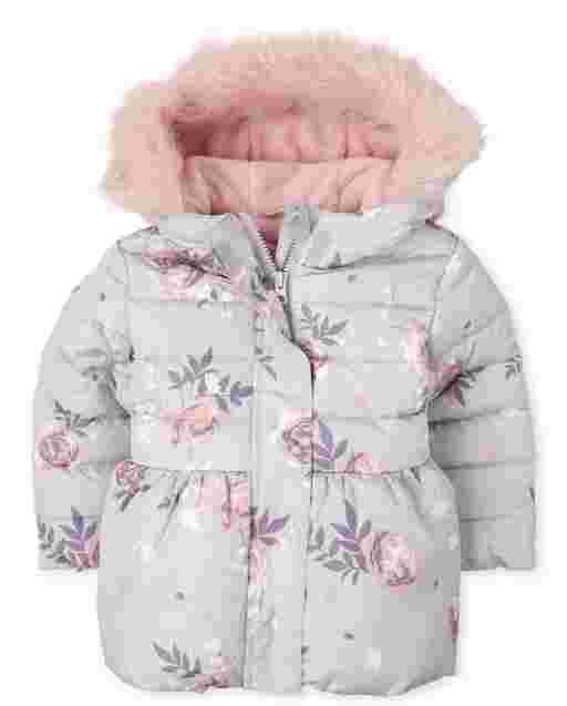 Chaqueta acolchada de burbujas con capucha y capucha de piel sintética con estampado floral de manga larga para niñas pequeñas
