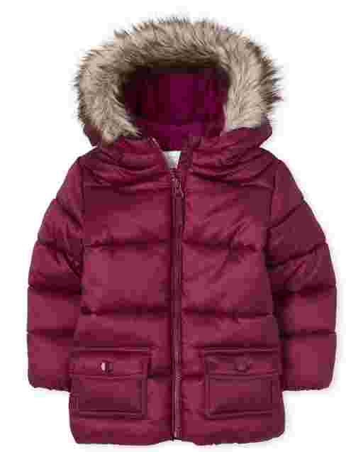 Chaqueta acolchada acolchada con capucha de piel sintética de manga larga para niñas pequeñas