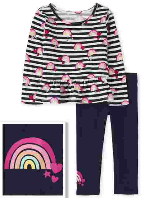 Toddler Girls Valentine's Day Long Sleeve Striped Rainbow Peplum Top And Knit Leggings Outfit Set