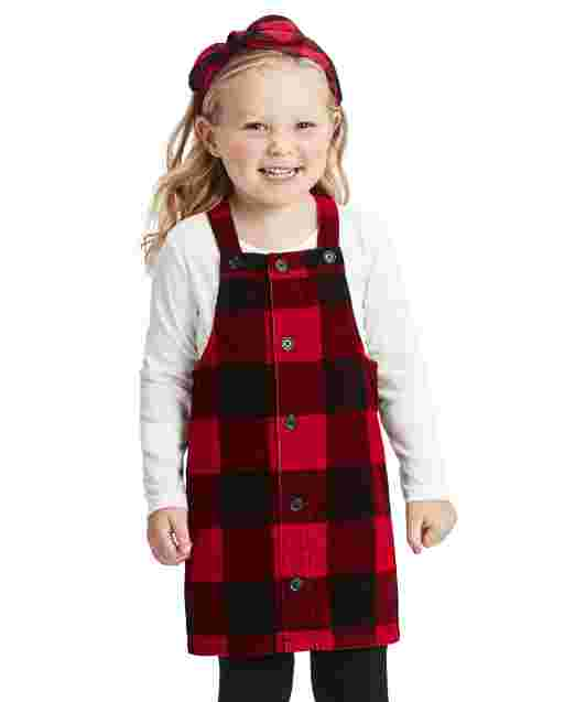 Toddler Girls Long Sleeve Top And Buffalo Plaid Corduroy Skirtall Outfit Set
