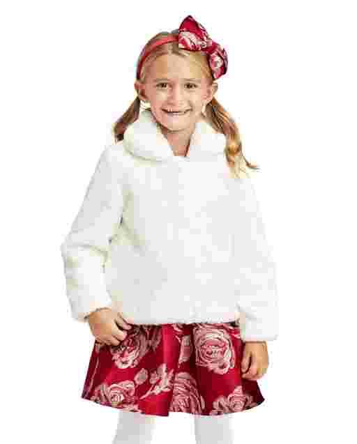 Abrigo de piel sintética de manga larga para niñas pequeñas