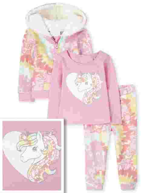 Toddler Girls Unicorn Heart Top Tie Dye Zip Up Hoodie And Knit Jogger Pants Outfit Set